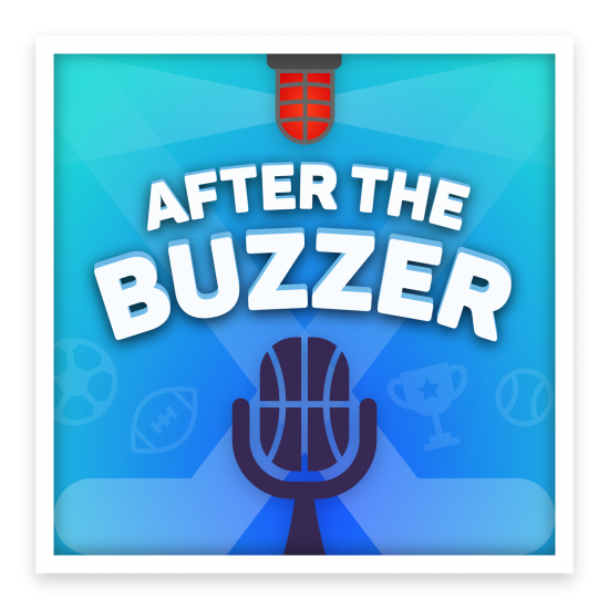 """Artwork for a podcast titled """"After The Buzzer"""". It contains many elements from sports such as hockey sticks, a hockey buzzer, a soccer ball, a football, a tennis ball, a trophy, and a microphone that resembles a basketball."""