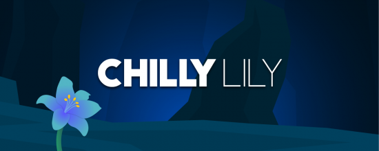 Twitch banner for user ChillyLily. It depicts a dark scene with a bright blue flower.