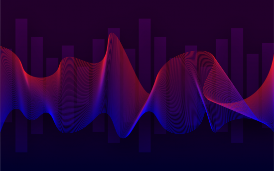 Artwork containing wavy red and blue lines. The background is purple and has thick bars depicting sound meters.