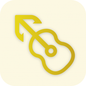 An iOS/iPadOS icon used for the app MusicHarbor. There is a guitar in the center with a anchor on the end. The background contains the waves of an ocean.