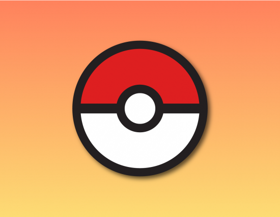 A Pokeball on a orange and yellow background.