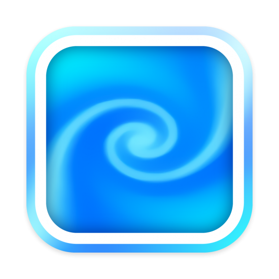 A macOS style icon based on the screen saver file icon from macOS. It has a big blue swirl in the center.